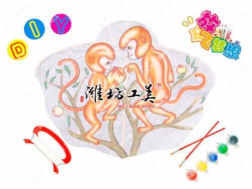 潍坊风筝厂猴子摘桃DIY风筝图片