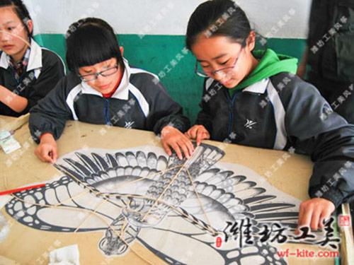 潍坊风筝厂课堂涂鸦DIY教学风筝